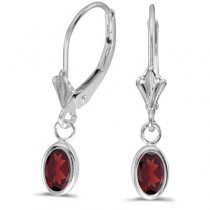 Oval Garnet Lever-back Drop Earrings in 14K White Gold (1.10ct)