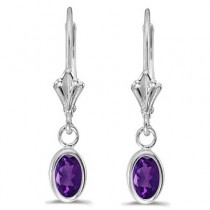 Oval Amethyst Lever-back Drop Earrings in 14K White Gold (0.90ct)