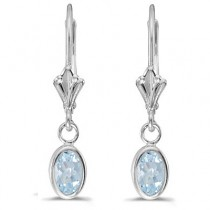 Oval Aquamarine Lever-back Drop Earrings in 14K White Gold (0.80ct)|escape