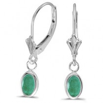 Oval Emerald Lever-back Drop Earrings in 14K White Gold (0.90ct)