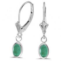 Oval Emerald Lever-back Drop Earrings in 14K White Gold (0.90ct)
