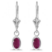 Oval Ruby Lever-back Drop Earrings in 14K White Gold (1.20ct)|escape