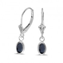 Oval Blue Sapphire Lever-back Drop Earrings 14K White Gold (1.10ct)
