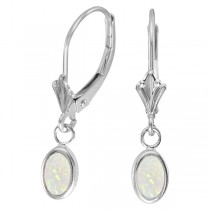 Oval Opal Bezel Leverback Earrings in 14K White Gold (0.54ct)