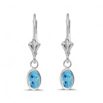 Oval Blue Topaz Leverback Drop Earrings in 14kt White Gold (1.14ct)|escape