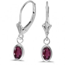 Oval Rhodolite Garnet Leverback Drop Earrings in 14K White Gold (1.10ct)