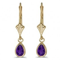 Amethyst Dangling Drop Lever-Back Earrings 14K Yellow Gold (0.70ct)