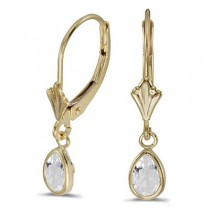 White Topaz Dangling Drop Lever-Back Earrings 14K Yellow Gold (1.00ct)