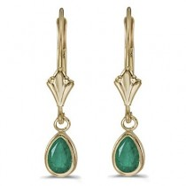 Emerald Dangling Drop Lever-Back Earrings 14K Yellow Gold (0.80ct)|escape