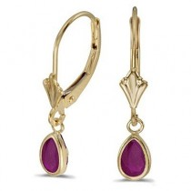 Ruby Dangling Drop Lever-Back Earrings 14K Yellow Gold (0.90ct)
