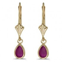 Ruby Dangling Drop Lever-Back Earrings 14K Yellow Gold (0.90ct)|escape