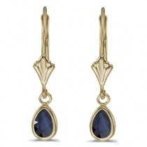 Pear Blue Sapphire Drop Dangling Earrings 14k Yellow Gold (0.90ct)