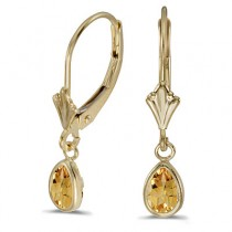 Bezel-Set Pear Citrine Dangling Drop Earrings 14K Yellow Gold (0.70ct)