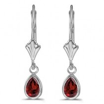 Garnet Dangling Drop Lever-Back Earrings 14K White Gold (0.90ct)