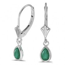 Emerald Dangling Drop Lever-Back Earrings 14K White Gold (0.80ct)