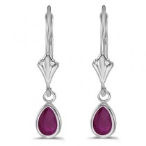 Ruby Dangling Drop Lever-Back Earrings 14K White Gold (0.90ct)