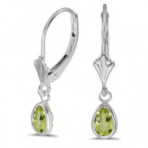 Peridot Dangling Drop Lever-Back Earrings 14K White Gold (0.90ct)