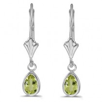 Peridot Dangling Drop Lever-Back Earrings 14K White Gold (0.90ct)|escape