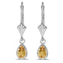 Bezel-Set Pear Citrine Dangling Drop Earrings 14K White Gold (0.70ct)