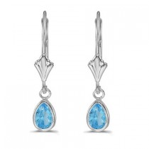Blue Topaz Dangling Drop Lever-Back Earrings 14K White Gold (1.00ct)|escape