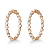 Medium Round Floating Diamond Hoop Earrings 14k Rose Gold (6.80ct)