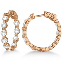 Small Round Floating Diamond Hoop Earrings 14k Rose Gold (4.00ct)