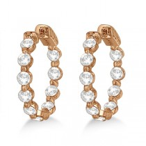 Small Round Floating Diamond Hoop Earrings 14k Rose Gold (4.00ct)|escape