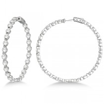 Large Round Floating Diamond Hoop Earrings 14k White Gold (10.00ct)