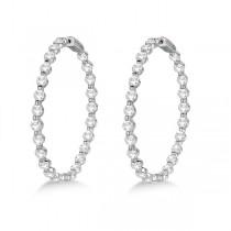 Large Round Floating Diamond Hoop Earrings 14k White Gold (10.00ct)