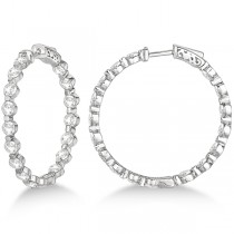 Medium Round Floating Diamond Hoop Earrings 14k White Gold (6.80ct)