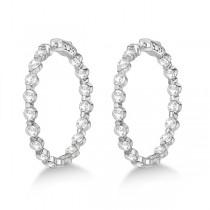 Medium Round Floating Diamond Hoop Earrings 14k White Gold (6.80ct)