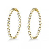 Large Round Floating Diamond Hoop Earrings 14k Yellow Gold (10.00ct)