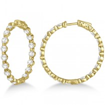 Medium Round Floating Diamond Hoop Earrings 14k Yellow Gold (6.80ct)