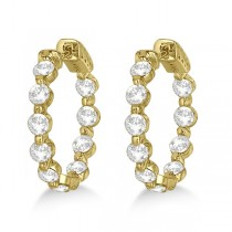 Small Round Floating Diamond Hoop Earrings 14k Yellow Gold (4.00ct)