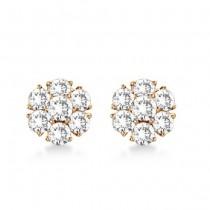 Diamond Flower Cluster Earrings in 14K Rose Gold (2.05ct)