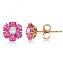 Pink Sapphire & Diamond Flower Cluster Earrings 14K R. Gold (1.25ct)