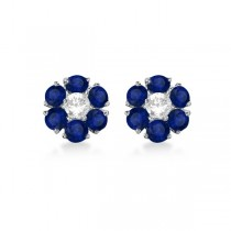 Diamond & Sapphire Flower Cluster Earrings 14K White Gold (1.91ctw)