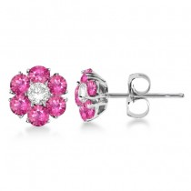 Pink Sapphire & Diamond Flower Cluster Earrings 14K W Gold (1.25ct)