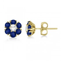 Diamond & Sapphire Flower Cluster Earrings 14K Yellow Gold (1.91ctw)