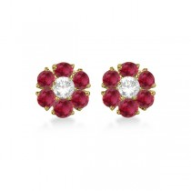 Diamond and Ruby Flower Cluster Earrings in 14K Yellow Gold (1.67ctw)