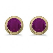 Bezel-Set Round Ruby Stud Earrings 14k Yellow Gold (1.20ctw)