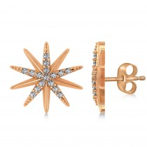 Diamond Accented Starburst Stud Earrings 14k Rose Gold (0.16ct)
