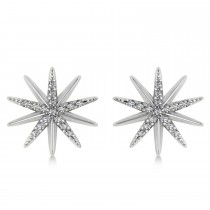 Diamond Accented Starburst Stud Earrings 14k White Gold (0.16ct)