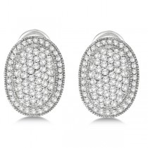 French Clip Pave-Set Diamond Oval Earrings 14k White Gold (2.10ct)