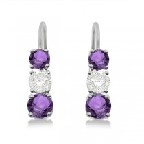 Three-Stone Leverback Diamond & Amethyst Earrings 14k White Gold (1.00ct)