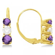 Three-Stone Leverback Diamond & Amethyst Earrings 14k Yellow Gold (1.00ct)