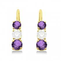 Three-Stone Leverback Diamond & Amethyst Earrings 14k Yellow Gold (1.00ct)