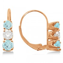 Three-Stone Leverback Diamond & Aquamarine Earrings 14k Rose Gold (1.00ct)