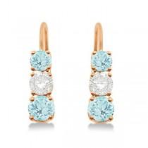 Three-Stone Leverback Diamond & Aquamarine Earrings 14k Rose Gold (1.00ct)