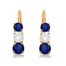 Three-Stone Leverback Diamond & Blue Sapphire Earrings 14k Rose Gold (1.00ct)
